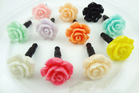 Wholesale Rose Dust Plug - 1000pcs 2014 NEW Lovely rose Dust plug for iphone dust cap for 3.5mm plug mobile phone,Free DHL Fedex