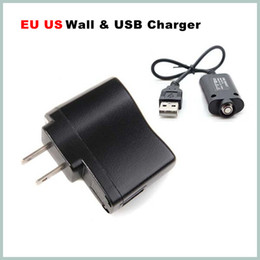 Wholesale Battery Charger Volt - USB Charger + US EU Wall Charger for ego ego-t ego-w ego-c Battery e-cigarette electronic cigarette e-cig black Hot Selling