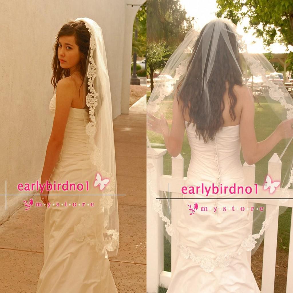 Waltz Wedding Veil With Double Cut French Alencon Lace