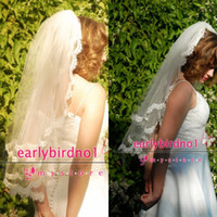Wholesale Tulle Chantilly - Elbow length two tier lace wedding veil with French Chantilly Lace trim, Mantilla Blusher Veil