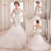 Wholesale Mermaid Feather Wedding Dresses - 2016 Wonderful Mermaid Wedding Dresses Exqusite Glamorous Ruffle Beaded Feather Pleats Fashion Mermaid bride dresses wedding gown