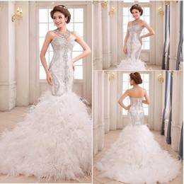 2019 robes de mariée couvertes de dentelle de cou de licou Magnifique Robes De Mariée Sirène Exqusite Volants Glamour Plumes De Perles Perlées De Mode Sirène Robes De Mariée Robes De Mariage Robe