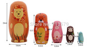 Vente en gros-5Pcs / Set Handmade Basswood Animal Matryoshka Dolls Russian Nesting Animal Dolls Child Gift Toy