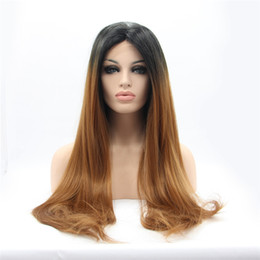 Wholesale Sexy Long Wigs - Sexy Style Wig Ombre Color Heat Safe New Synthetic Wigs Swiss Lace Front Wig Straight #Color & Style# As the Picture Show Custom Wig