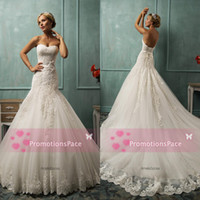 Wholesale Dropped Waist Sweetheart Neckline - Wedding Dresses Lace Appliques with Sweetheart Neckline Drop Waist Mermaid Trumpet Ribbon Sash Lace Up Back Sweep Train Bridal Dress AS1264