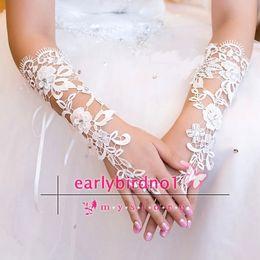 Wholesale Sequin Fingerless Gloves - Fingerless Sequins Rhinestone Bridal Gloves Sheer Lace Wedding Gloves