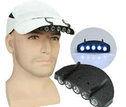 Wholesale Caps Leds - 5 LEDs Camping Fishing Clip Hat Cap Portable Light Lamp Headlamp Outdoor survival emergency Light
