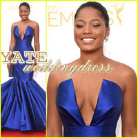 Wholesale Emmy Celebrity Dresses - Newest Keke Palmer Emmy Awards 2014 Red Carpet Sweetheart Mermaid Celebrity Dresses Satin Ruffles Royal Blue Evening Gowns Prom Vestidos