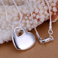 Free Shipping 925 Sterling Silver Jewelry Heart pendant Fine...