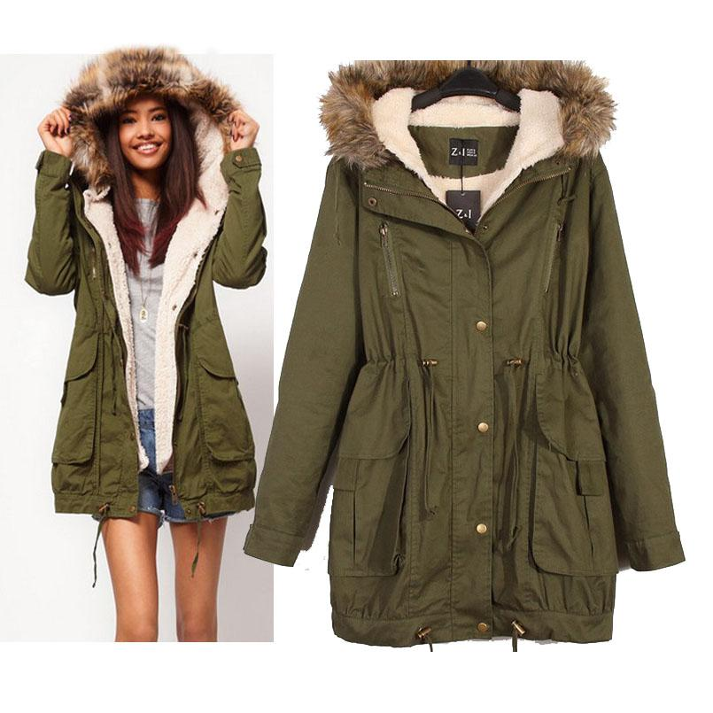 Best Women Down Coat A Parka New Faux Fur Hooded Army Green ...