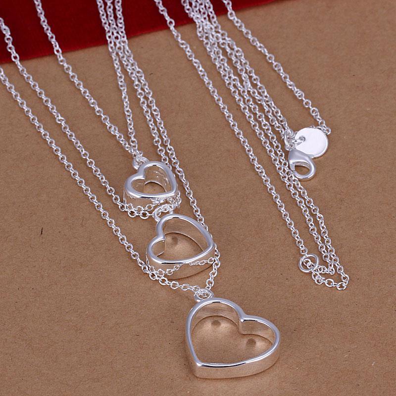 Prix usine top qualité 925 bijoux en argent sterling collier mode mignon collier coeur pendentif Livraison gratuite SMTN038