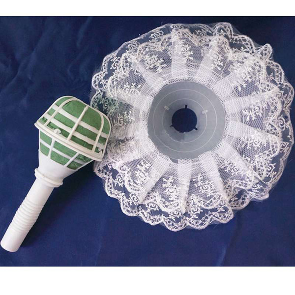 1pc Bouquet Handle Holder + White Lace Collar for Bridal Floral Wedding Flower