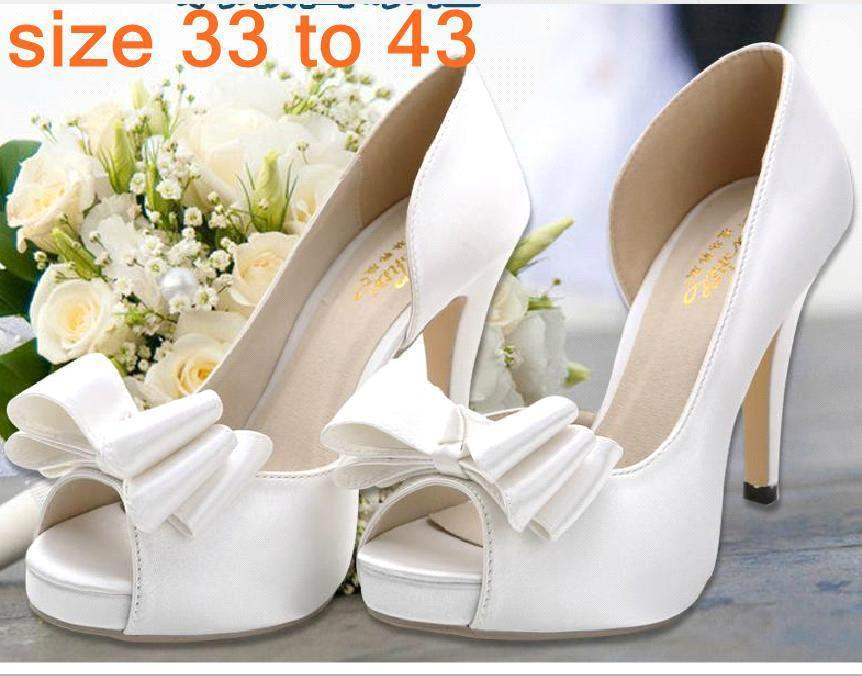 d09141a45f3 Plus Size Dreamy Peep Toe High Heels Bowtie Satin White Shoes Bridal  Wedding Shoes Prom Gown Dress Shoes Size 33 34 To 40 41 42 43 Formal Shoes  For Men ...
