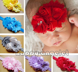 Wholesale Satin Tulle Flower Headband - 20pcs Baby Hand Sewing Head Flower combination Hair Accessories satin rose lace flower Tulle chiffon flower with headbands stretchy SG8533