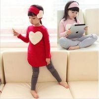 Wholesale Baby Suit Pant Dress - Red  Pink Autumn Baby Girls Headband + Long Sleeve Love T-shirt Dress + Leggings Pants Kids 3 Piece Clothing Suit Children's Outfits Set