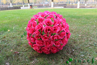 Wholesale large christmas ball ornaments - 2015 New 40CM 15.8inch red Artificial Silk rose Flower ball Kissing Balls Large Hanging Ball Christmas Ornaments Wedding Party Decoration