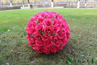 büyük çiçek öpüşme topları toptan satış-2015 Yeni 40 CM / 15.8 inç kırmızı Yapay Ipek gül Çiçek topu Öpüşme Topları Büyük Asılı Top Yılbaşı Süsler Düğün Parti Dekorasyon