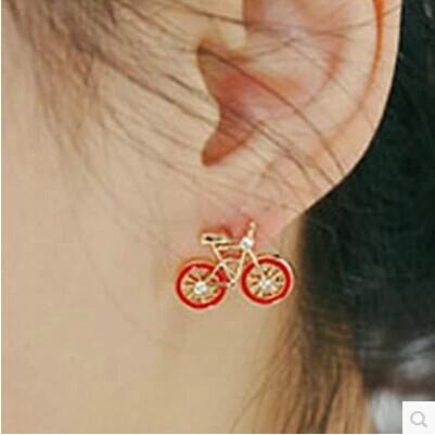 Имитация бриллиантовые серьги велосипеда Прекрасный черный красный белый женщины Новый рождественский подарок 36 пара / лот
