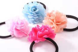 Wholesale Decorated Headbands - Fashion Girls Headbands Hair Accessories Camellia Rose Flower Beautiful Girl Kids Hair Bands Children's Hair Decorated 60pcs lot A655