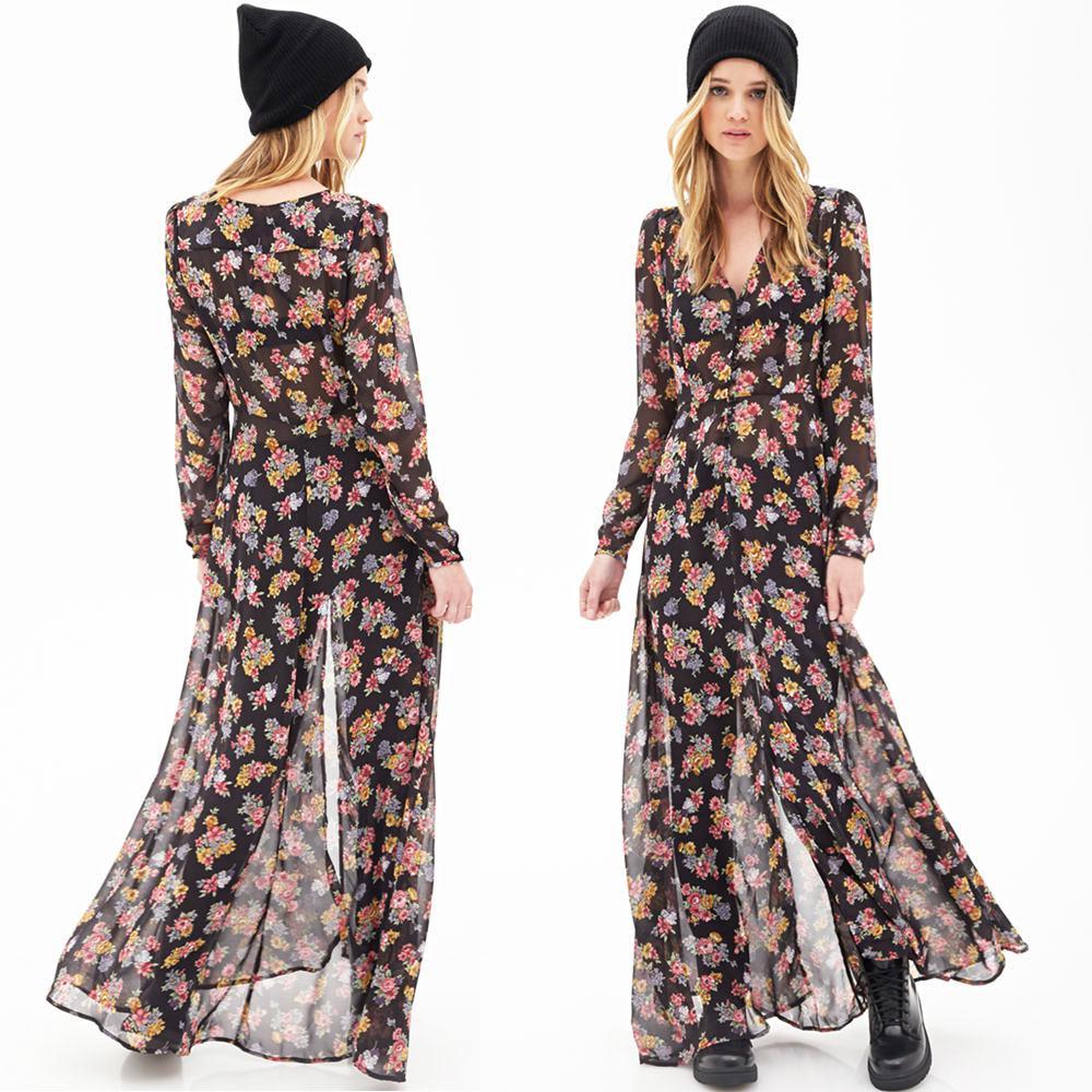 European Women Chiffon Dress Vestidos Floral Print High Front ...