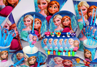 Wholesale Decorative Paper Sets - New 72 pcs lot Luxury Kids Birthday Decoration Set Frozen ELSA & ANNA Theme Party Supplies Baby Birthday Party Pack Birthday Party Pack