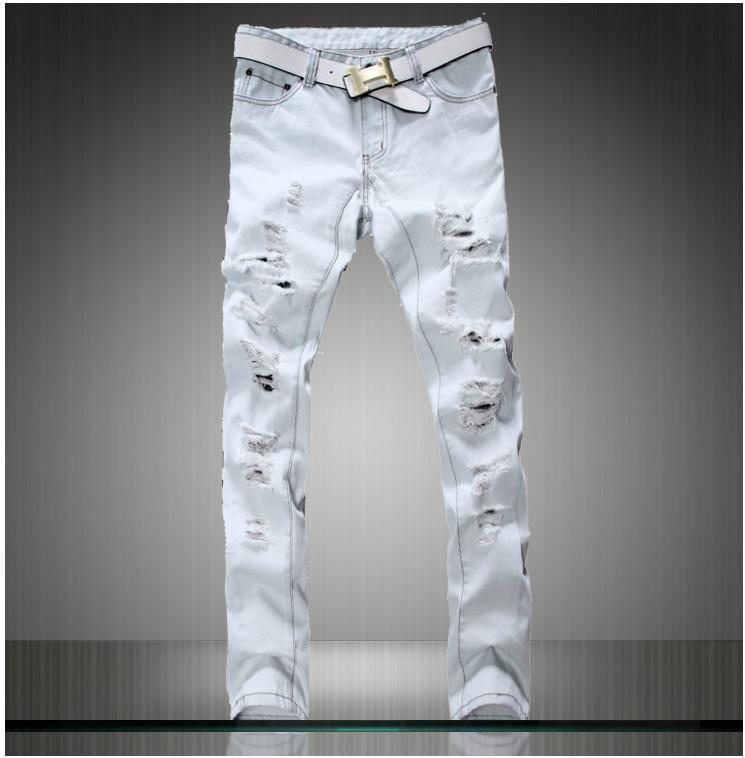 2468f44b9528 Free shpping 2014 new summer famous brand white ripped big hole jeans men  washed white demin pants for male