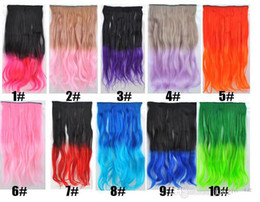Wholesale Gradient Hair Extensions - HOT curl clip in gradient hair extension women gradual hairpieces one piece for full head long wavy curly hair extensions 60cm 130g Colorful