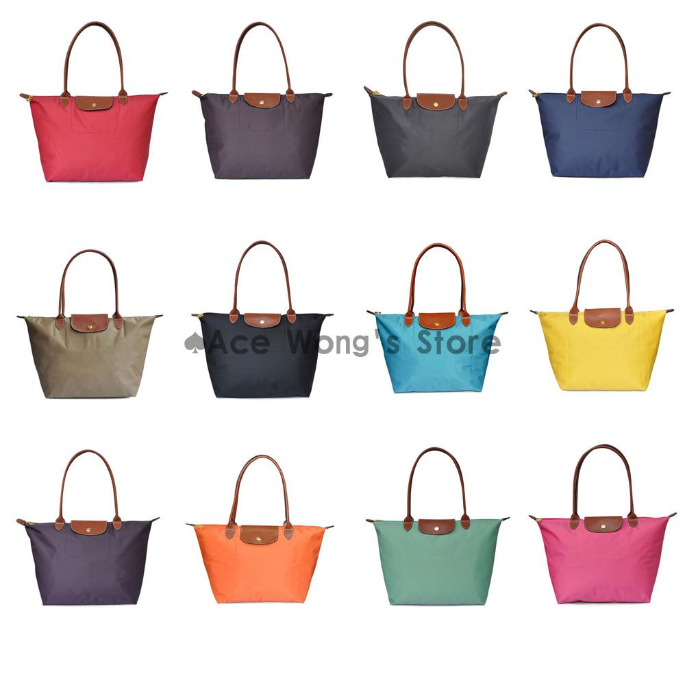 Long Handle Tote Shopping Bag Nylon Waterproof Colorful Handbag ...