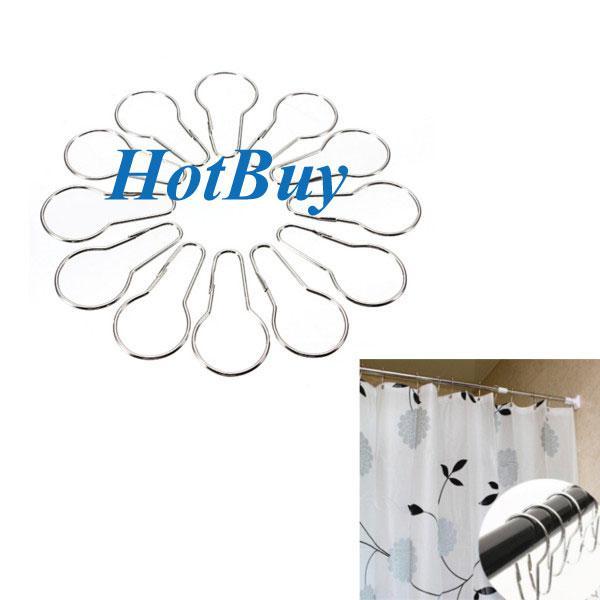 2016 New Shower Curtain Rings Hooks Chrome Bath Bathroom Clip Easy ...