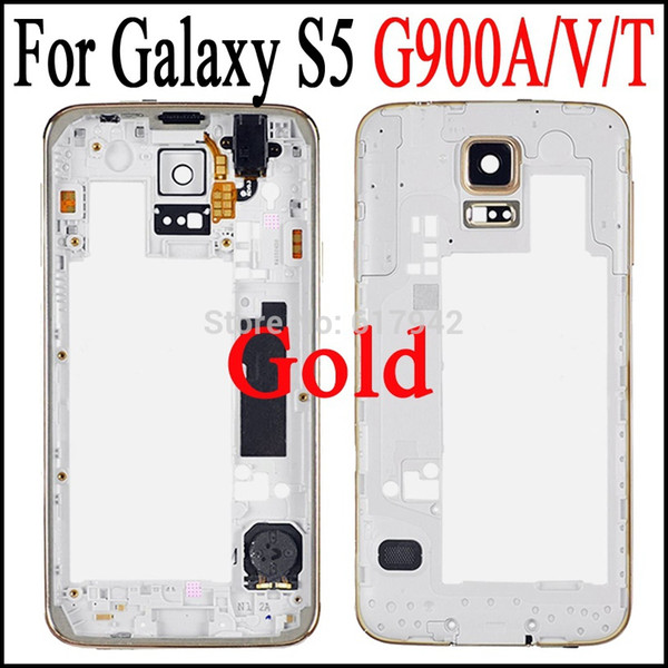 For Galaxy S5 G900F OEM Gold Middle Frame Plate Bezel Housing Replacement Parts for Galaxy S5 G900A G900T G900V G900P G900F
