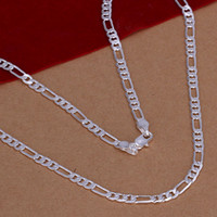 Wholesale Wholesale 4mm Rhinestones - 26'' 28'' 30'' 16'' 18'' 20'' 22'' 24'' Mixed 4mm Men's chains Necklace 925 silver n102