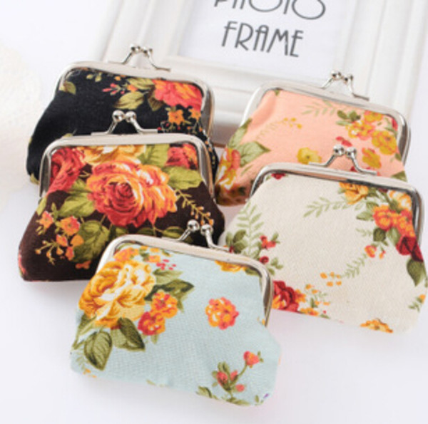 top popular Fashion Hot Vintage flower coin purse canvas key holder wallet hasp small gifts bag clutch handbag 2019