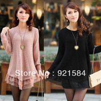 Wholesale Design Sweater Skirt - New winter lace knitting Sweater Women's pullovers tops fashion elegant lace skirt lap design twist pullovers women's Blouse Os