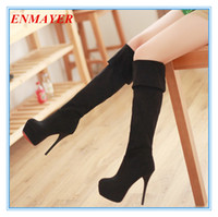 Wholesale Square Toe Stiletto Boots - ENMAYER Big size 34-43 free shipping sexy long boots over the knee ultra high heel spring shoes women winter boots