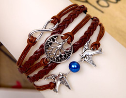 2019 pulseiras de cobre de couro 10 cores Infinito Pulseira Pulseiras Árvore da vida Pulseira de cobre de prata charme Pulseira Amante Aves pulseira de couro Pulseira de Pérolas jóias pulseiras de cobre de couro barato