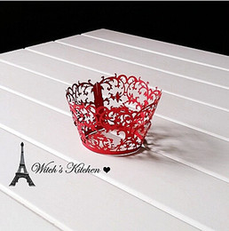 Wholesale Lace Cupcake Cases - Free Shipping cupcake wrappers decorations for wedding,red lace muffin cake cup baking cups cases wrapper