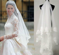 Wholesale Cathedral Tier Veils - Hot Style Two Tiers Cathedral Wedding Veils Long Fingertip Length Blusher Applique Bridal With Comb Lace Edge
