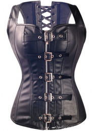 Wholesale Leather Lace Zipper Corset - New Sexy Lace Up Black Women Corset Top Bustier Faux Leather Zipper Plus Size Corsets OC015 Ladies Steampunk Bustiers Corset