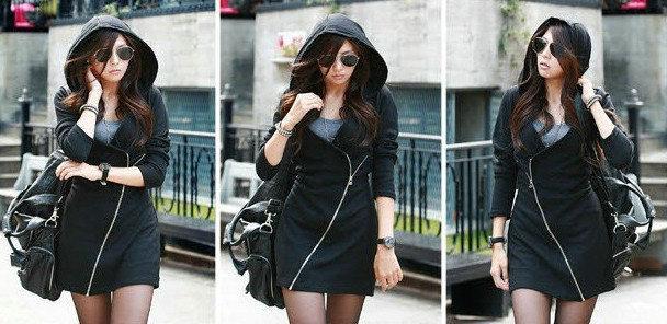 2014 nueva llegada Hoodies chaquetas otoño invierno cremallera Hoodies moda mujer abrigo coreano Casual Ladies Girls con capucha abrigo con capucha ropa W31