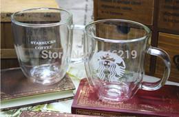 Wholesale Bodum Glasses - Wholesale-Starbucks double wall glass mug bodum double wall glass cup 475ml 16oz 2pcs lot