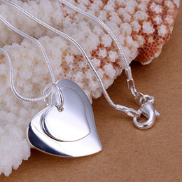 Discount double top plate - Free Shipping 925 Sterling Silver Jewelry Pendant Fine Fashion Necklace Double heart Pendants Top Quality Hot 20pcs Lot