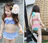 Wholesale Red Plaid Bikini - Children Girl's Beach Wear Kids Swimwear High Quality Fashion Girls Swimming Sets Lace Plaid Briefs + Big Bow Tank Tops + Hat 3pcs Set A664