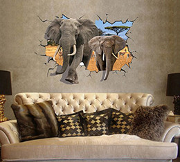 Wholesale Elephant 3d Stickers - 3D Elephants Catoon Wall Decals, Living Room Bedroom Removable Wall Stickers Murals
