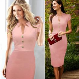 Wholesale Office Pink Short Dress - Celeb Temperament Elegant Women Fashion Knee Length dress Zipper Pencil Slim button S-XXL Office Ladies Work Wear DK4404XL Free Shipping
