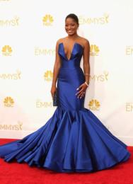 Wholesale Emmys Dresses - 2014 66th Emmy Awards Emmys Keke Palmer V-Neck Red Carpet Dresses Strapless Backless Royal Blue Satin Mermaid Evening Celebrity Dresses