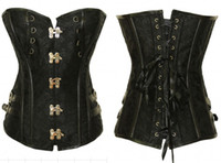 Wholesale Cheap Steampunk Corset - Hot Sale Sexy Black Faux Leather Buckle Overbust Waistcoat Corset Top Basque Women's Steampunk Underwear Cheap Corsets OC012
