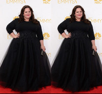 Wholesale Evening Gowns Emmy - Black Plus Size Celebrity Gowns Long Sleeves Prom Dresses Modest Beaded Emmy Awards Melissa McCarthy Evening Red Carpet Dress