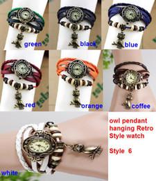 Wholesale Brown Owl Bracelet - 50pcs lot 7colors Hot Leather Vintage Watches bracelet Retro owl pendant Quartz Woman Students wrist watch