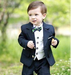 Wholesale Small Children Picture - Hot sale boy suits flower boy dresses Small boys suit Navy blue two button birthday suit children dress