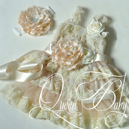 Wholesale Baby Girl Petti Lace Dress - Baby Girl Ivory Petti Lace Dress Matching Lace Headband Sash Belt And Clip,Baby Girl Outfit,Photography Prop 4set lot